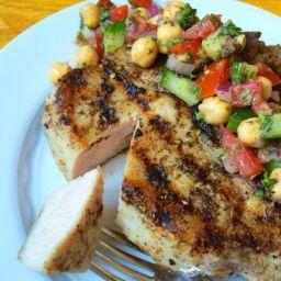 Za'atar Crusted Grilled Pork Chops