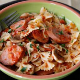 Ziti with Sausage, Mushroom and Tomato Sauce