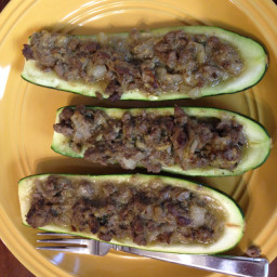 Zucchini Boats Stuffed with Coconut Curry Lamb