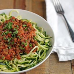 Zucchini Spaghetti with Easy Lentil Marinara