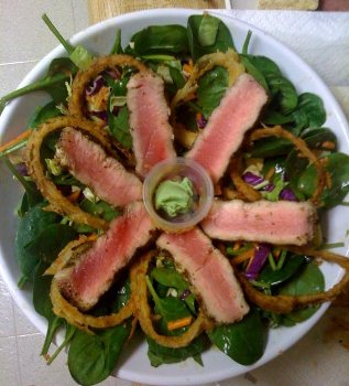 Asian Sesame Salad with Seared Ahi Tuna - BigOven