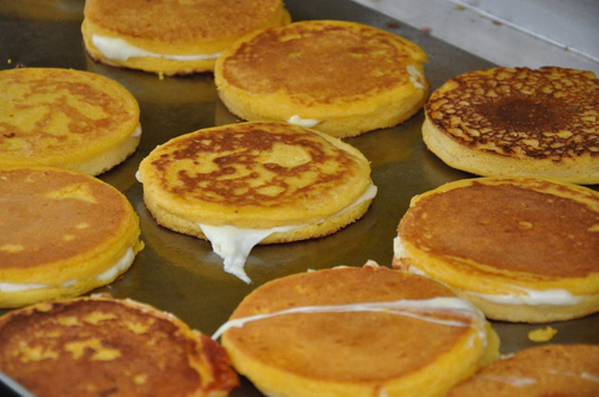 "... Sandwiches and Wraps Corn Pancake Sandwiches ""Arepas de Choclo"