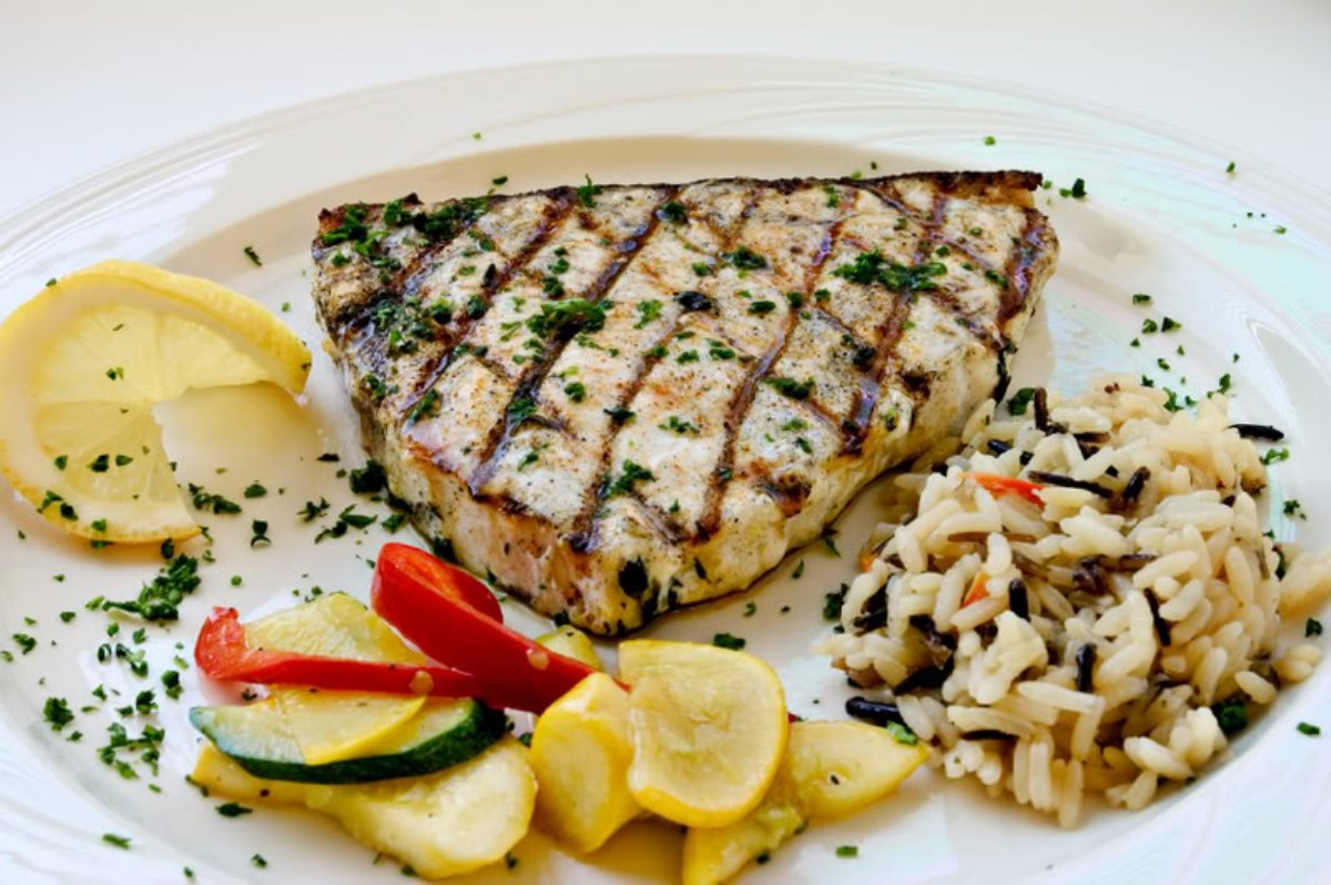 Grilled swordfish steaks with yucatan orange herb paste for Sword fish recipes