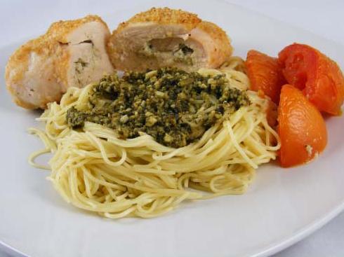 ... Poultry - Chicken Pesto & Ricotta Stuffed Chicken Breast over Pasta