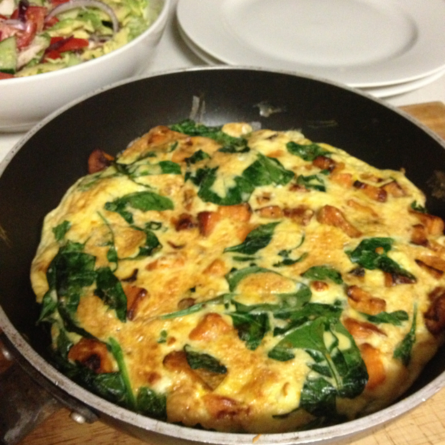 frittata with feta sweet potato spinach feta cheese and roasted pepper ...