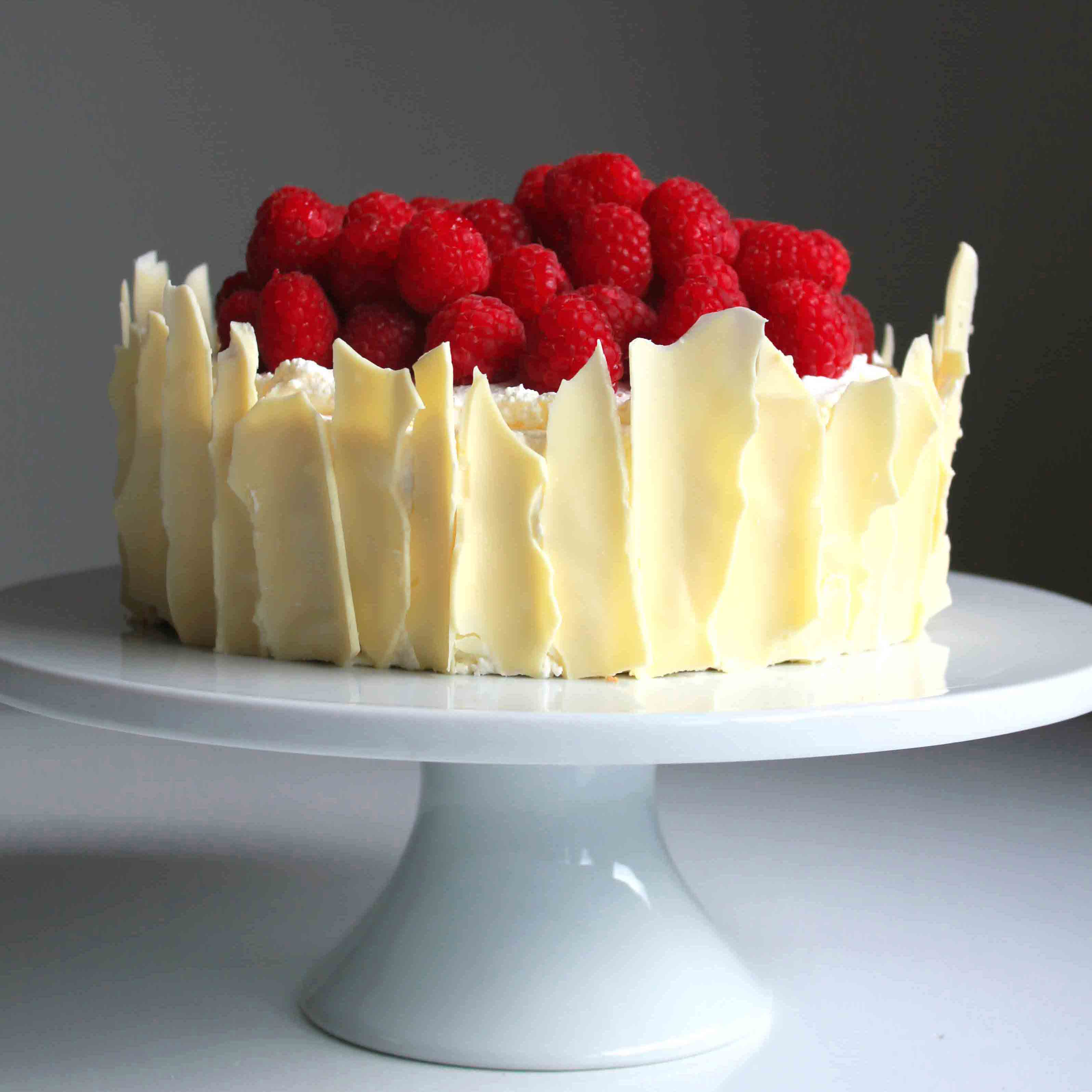 3 Layer Cake Icing: Lemon Raspberry Sponge Cake With White Chocolate Shards