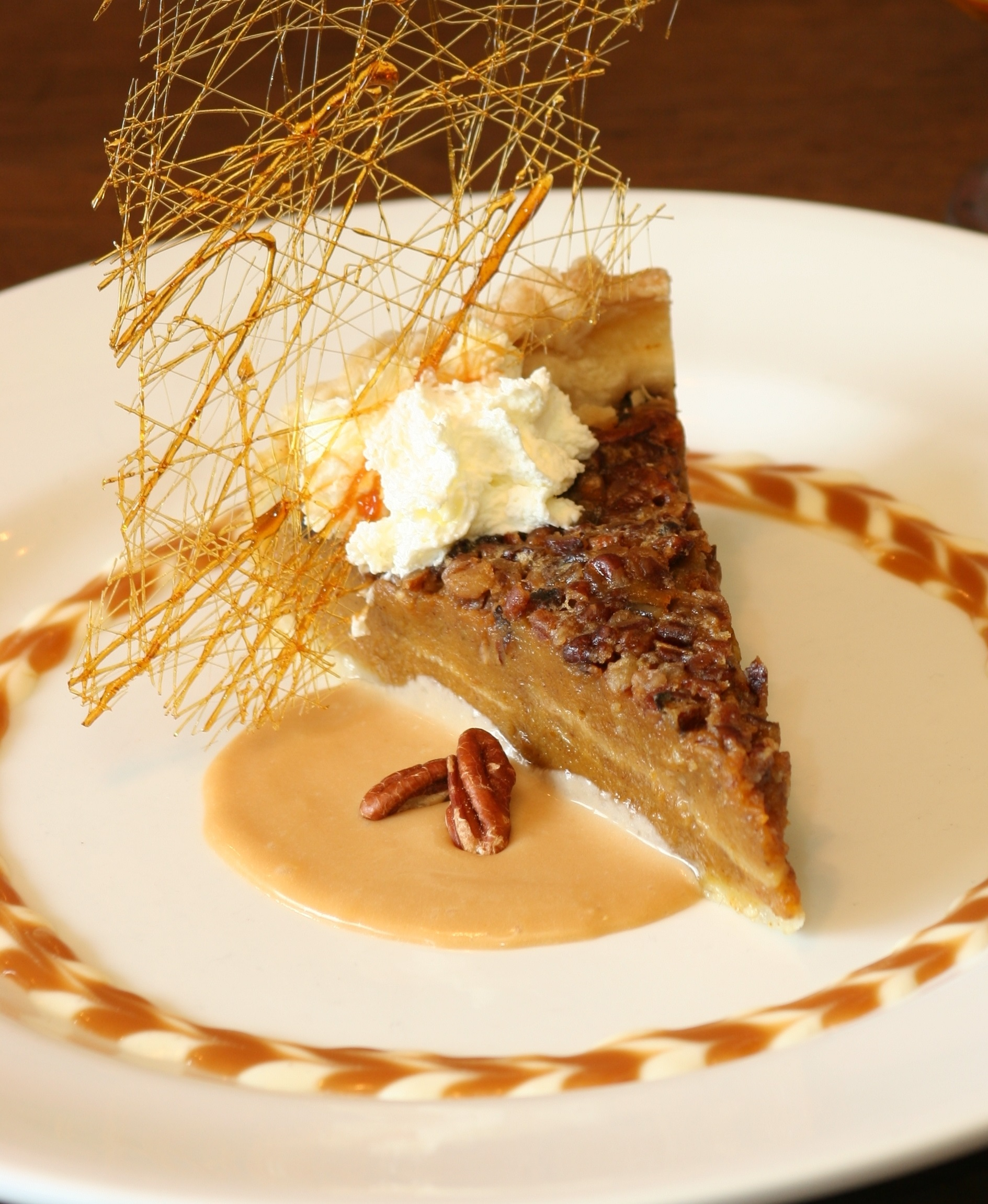 Pumpkin-Pecan Pie with Whiskey-Butter Sauce - BigOven
