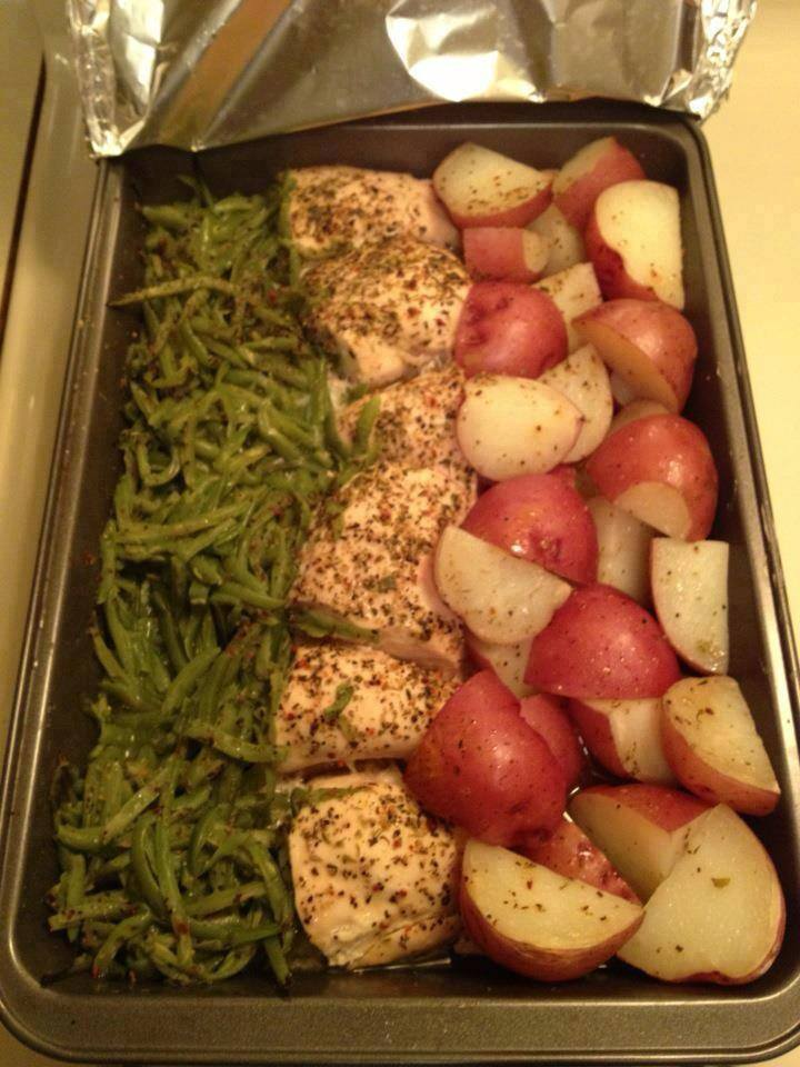 baked chicken with veggies and potatoes