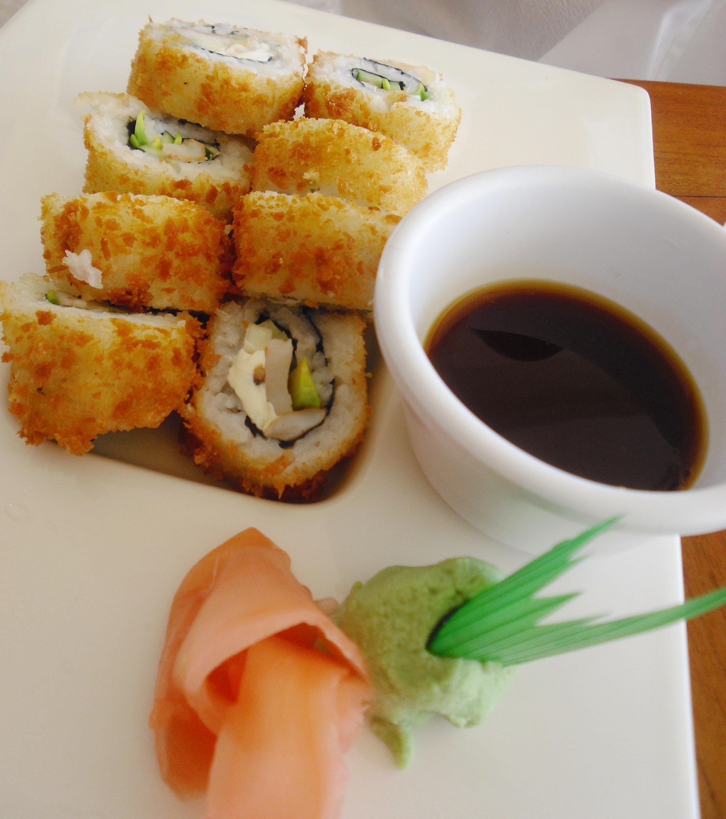 Herb Crab Salad Maki Sushi With Tempura Shrimp Hand Rolls