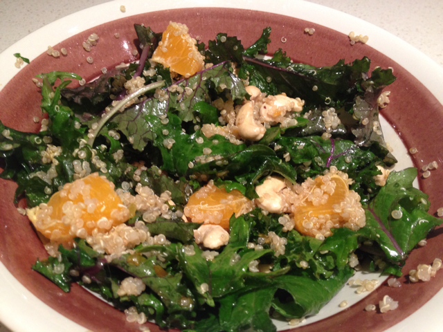 Kale Salad with Quinoa, Tangerines and Roasted Almonds - BigOven