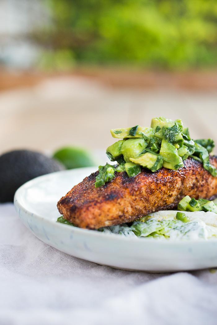 ... Fish and Shellfish Grilled Salmon Salad with Avocado Cucumber Salsa