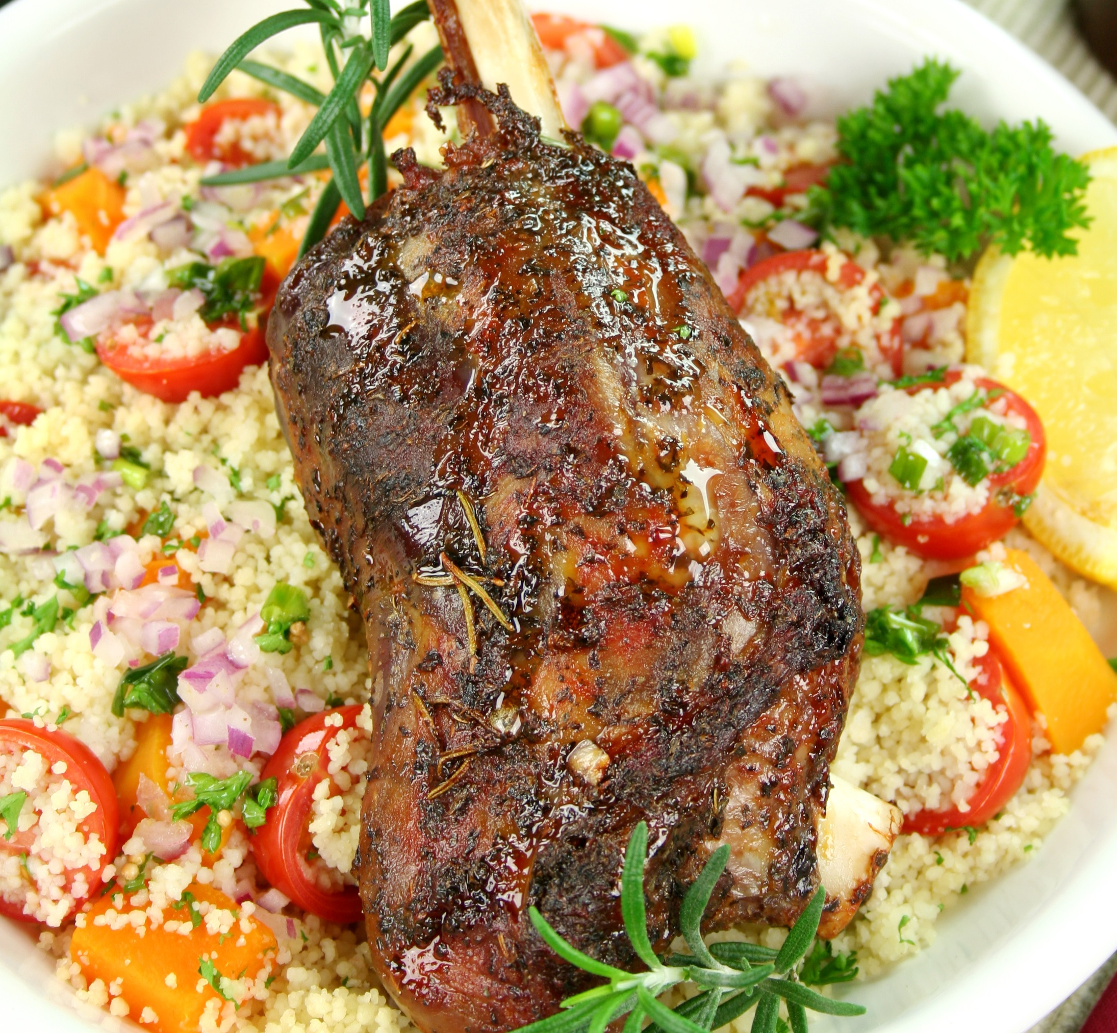 Lamb - Slow Roasted Lamb Shanks with Garlic and Rosemary