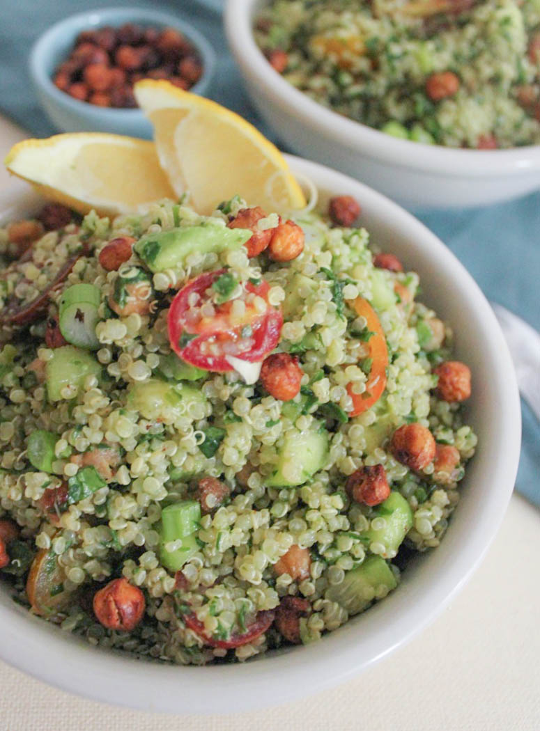 Quinoa Green Goddess Bowl with Crispy Chickpeas and Lemon ...