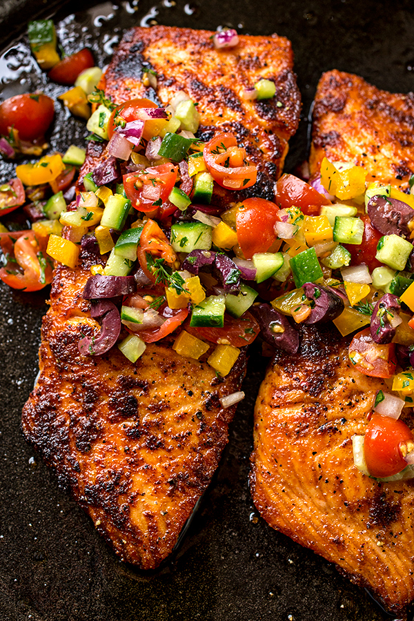Baked Salmon With Mediterranean Salsa Fresca And Toasted