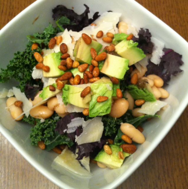 Kale salad with Parmesan, avocado, cannellini beans and ...