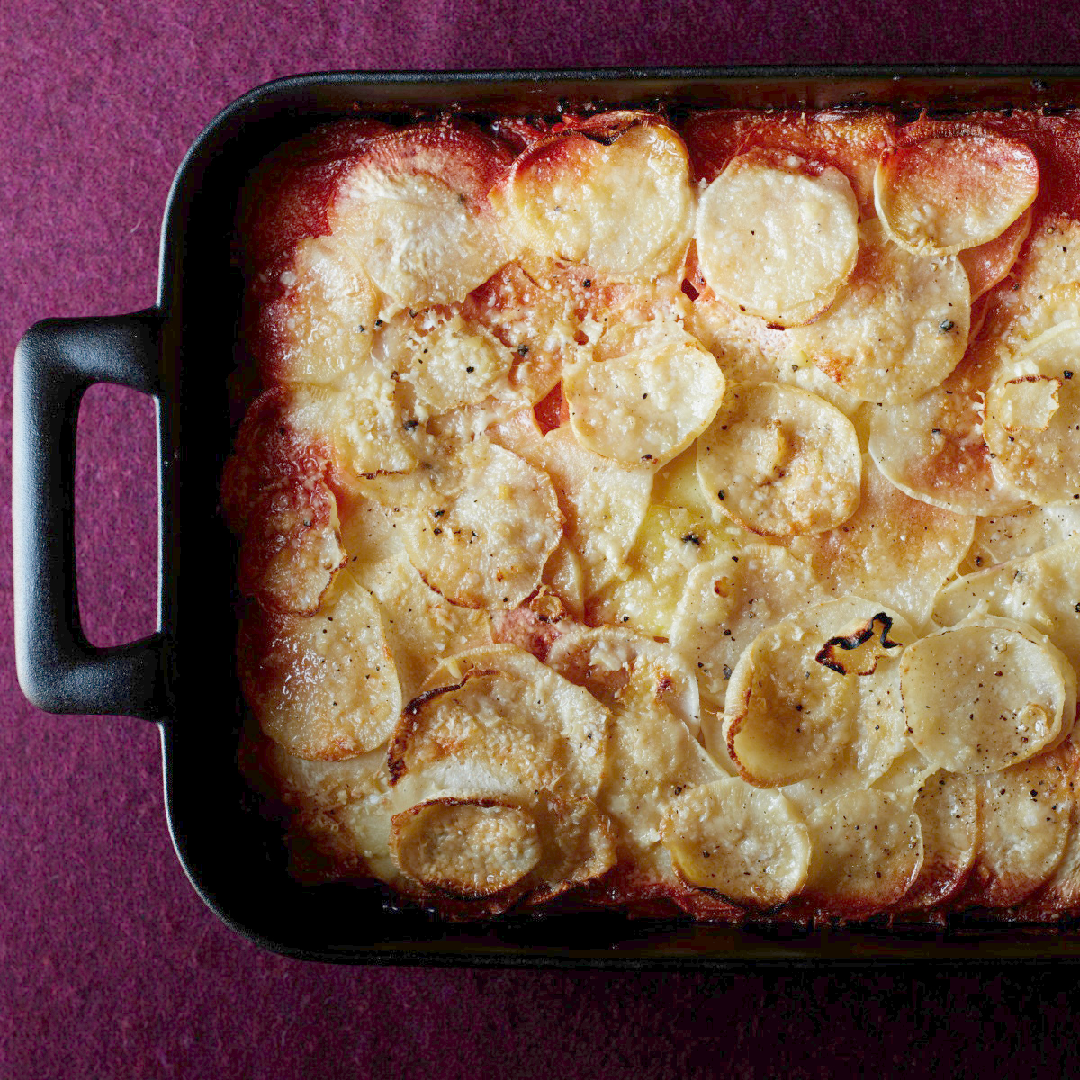 Recipes Course Ombré Potato and Root Vegetable Gratin