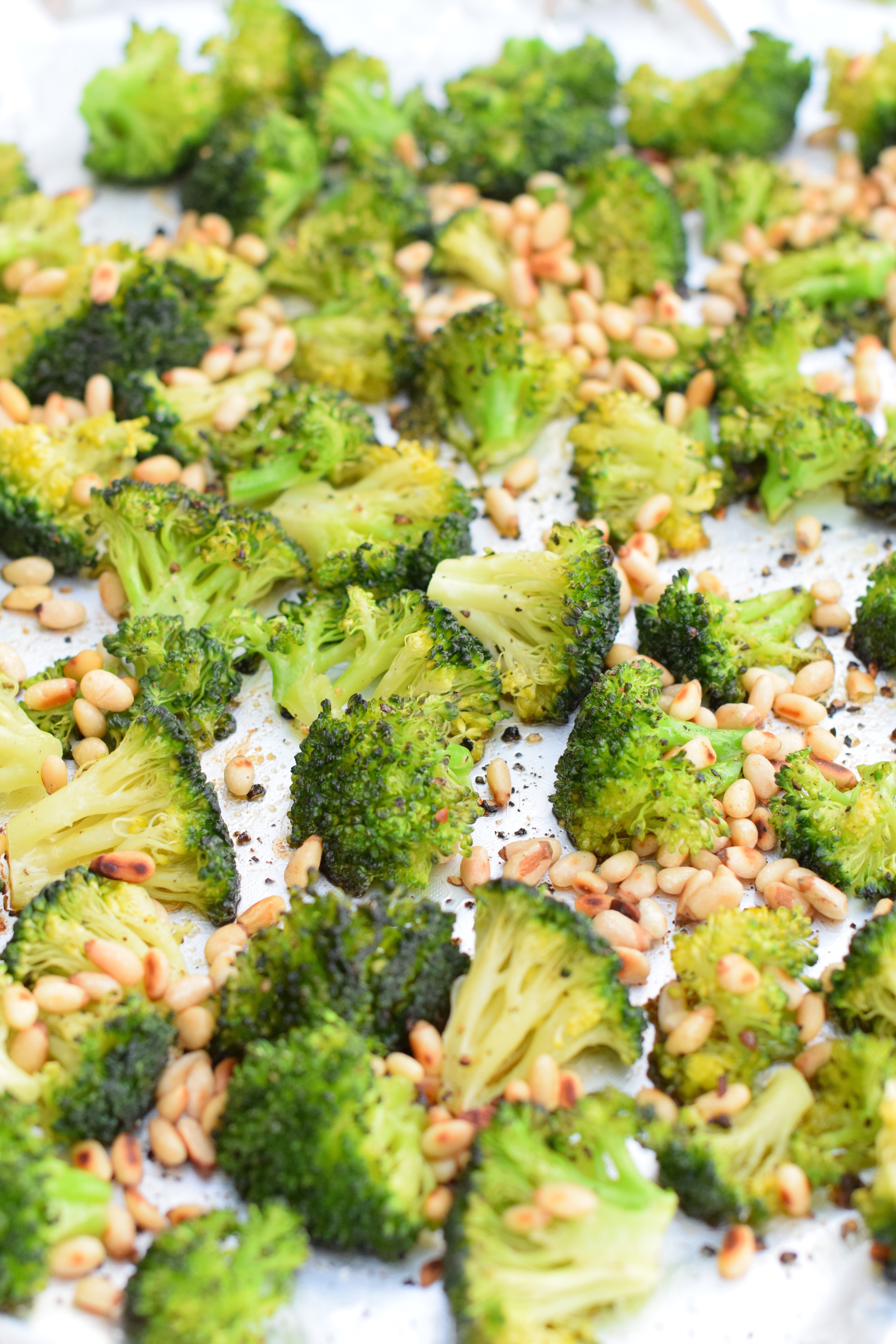 Roasted Broccoli with Lemon Garlic Butter & Toasted Pine Nuts ...