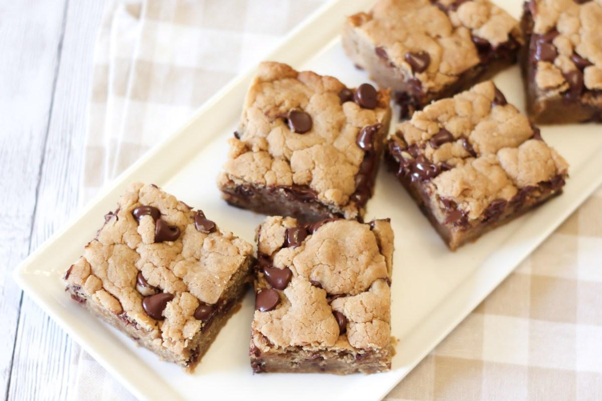 gluten free vegan chocolate chip peanut butter cookie bars ...
