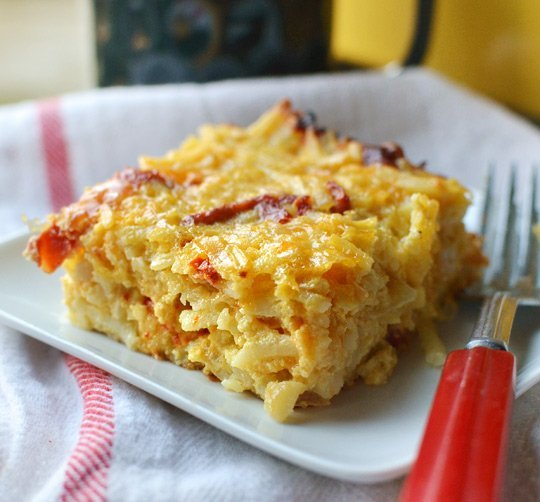 Cheesy Potato Breakfast Casserole with Cheddar and Sun ...