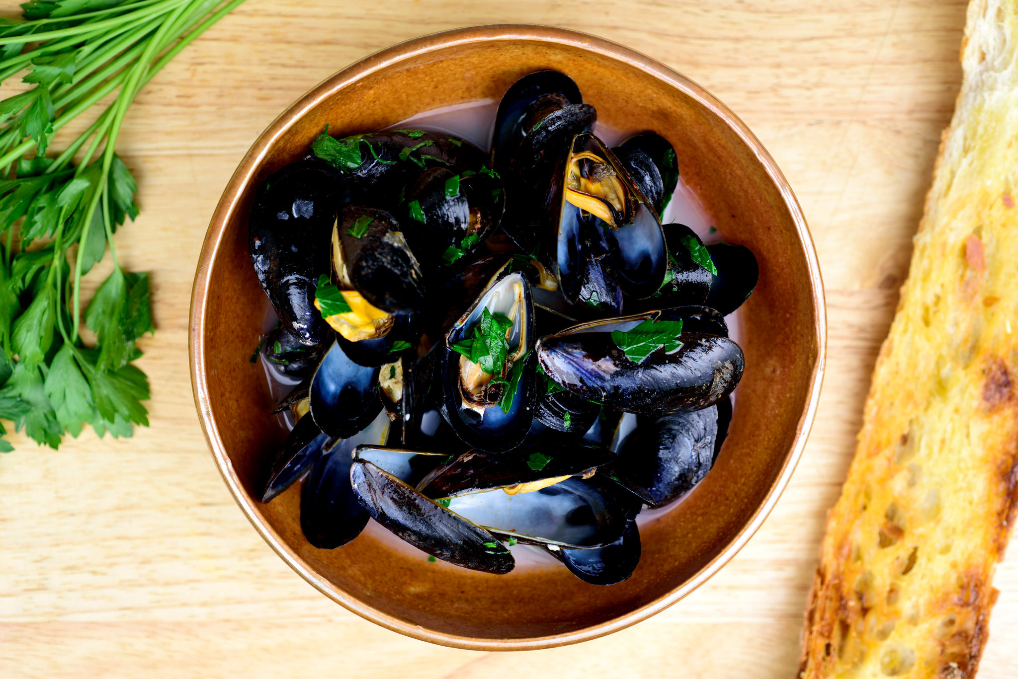 ... Main Dish Fish and Shellfish Steamed Mussels With Garlic and Parsley