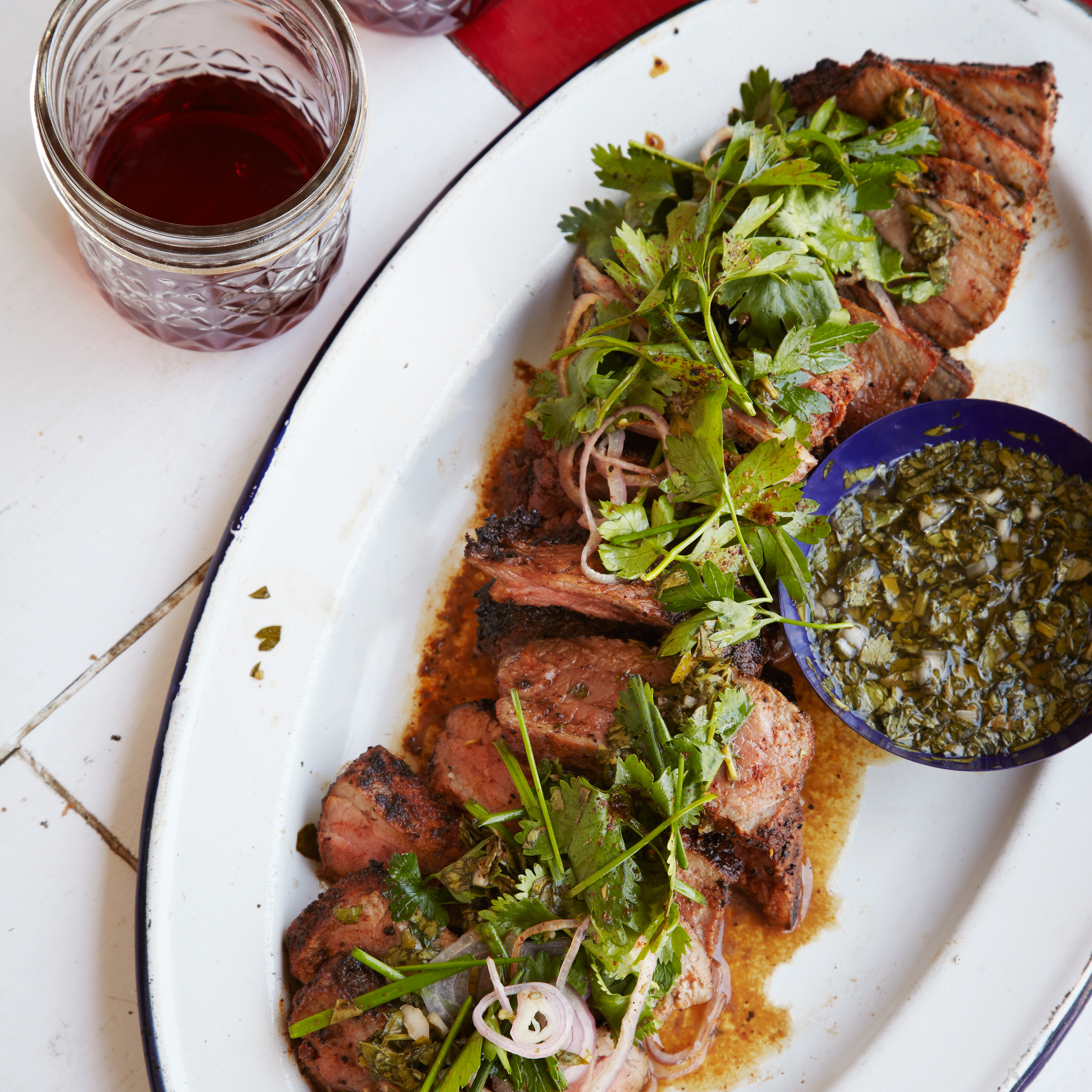 Coffee-Rubbed Strip Steaks with Chimichurri Sauce - BigOven