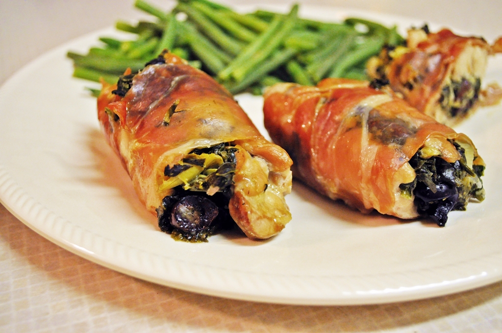... Dish Poultry - Chicken Greek Stuffed Prosciutto Wrapped Chicken Thighs