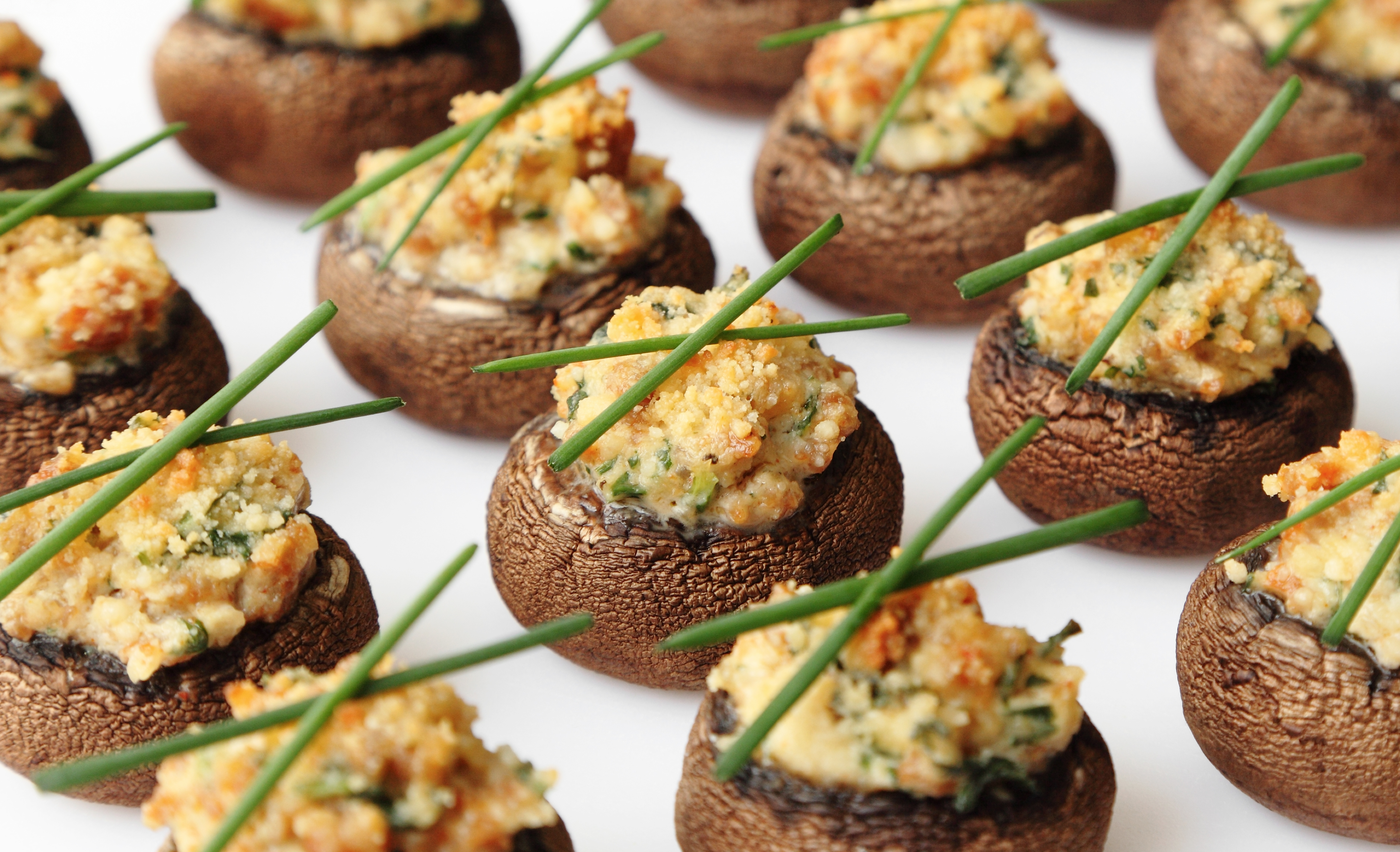 Crab stuffed mushroom caps for Canape au fromage