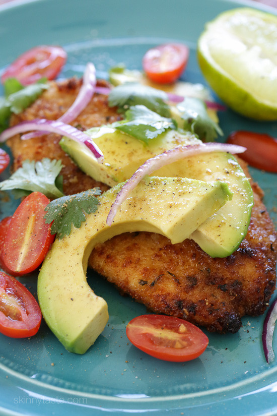 Breaded Chicken Cutlets with Deconstructed Guacamole - BigOven