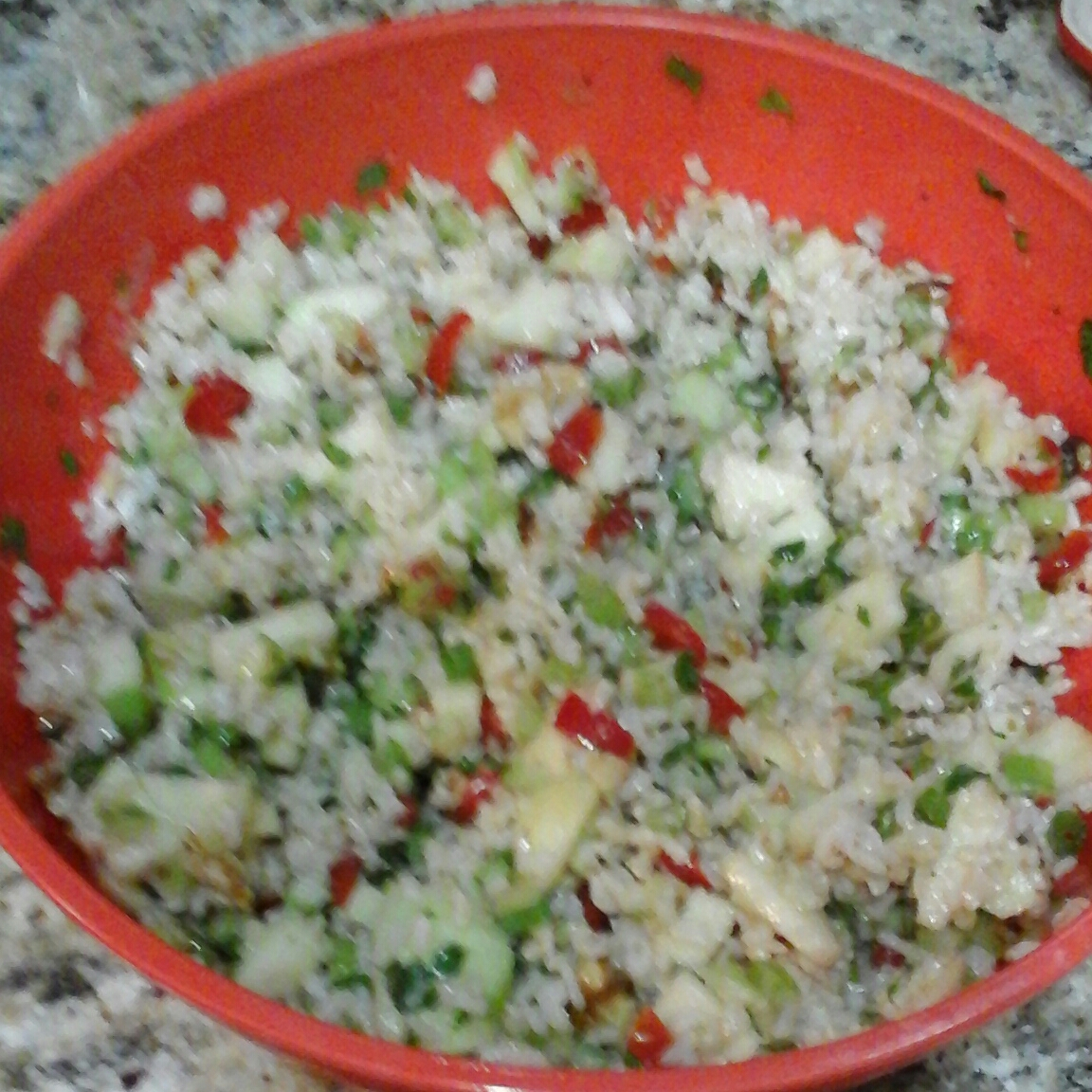 Brown Rice salad with apple and walnuts,red bell pepper