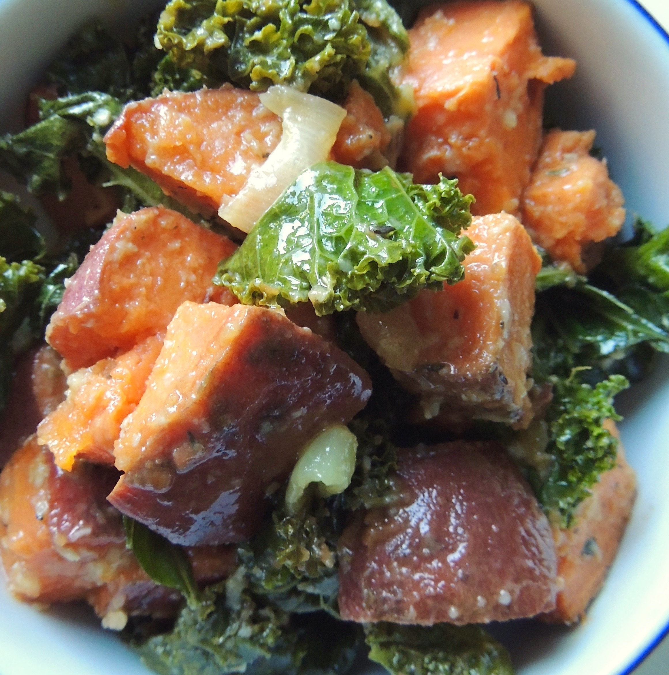 Roasted Yams: Roasted Yams And Kale