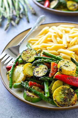 Summer Pesto Grilled Vegetables with Penne - BigOven