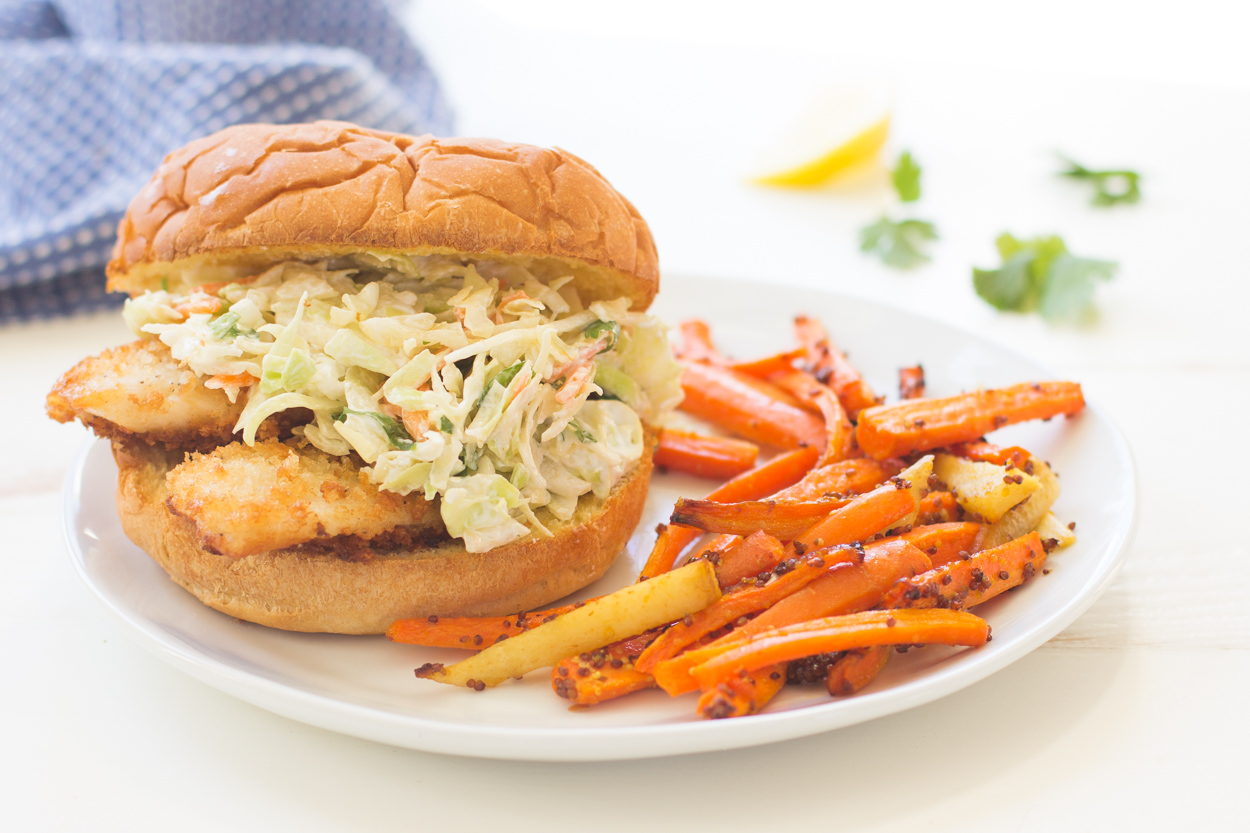 Crispy fish sandwiches with creamy coleslaw for Fish stick sandwich